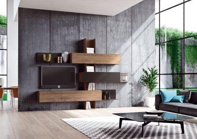 Wohnwand Madera von Hülsta Ausführung Nussbaum und Strukturlack anthrazit