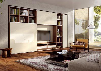 Wohnwand Mega-Design von Hülsta Ausführung Lack-wollweiß und Kernnussbaum