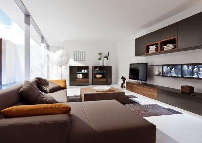 Wohnzimmer Neo von Hülsta Ausführung Lack cacao und Kernnussbaum