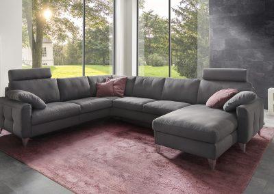Sofa Combi Plus von Ewald Schillig mit grauem Stoffbezug