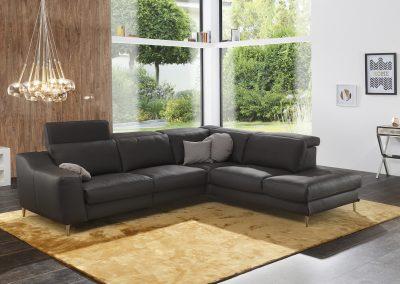 Sofa Curuba von Ewald Schillig mit schwarzem Lederbezug