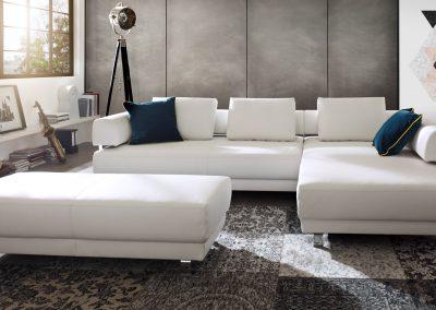 Sofa Face von Ewald Schillig mit weißem Lederbezug