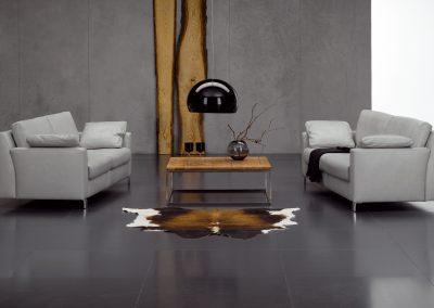 Sofa Flexplus von Ewald Schillig mit weißem Lederbezug
