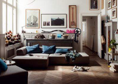 Sofa 184 von Freistil mit grauem Stoffbezug