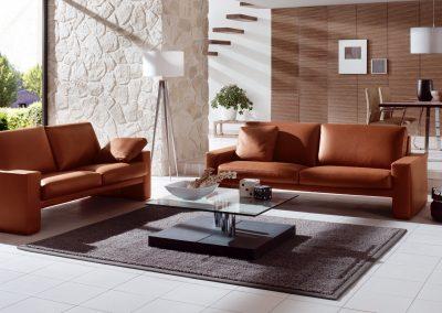 Sofa Classic 100 von Erpo mit  braunem Lederbezug