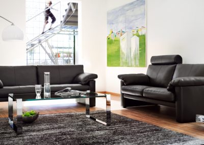 Sofa Classic 300 von Erpo mit schwarzem Lederbezug