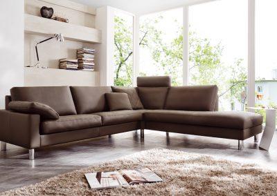 Sofa Classic 500 von Erpo mit braunem Lederbezug