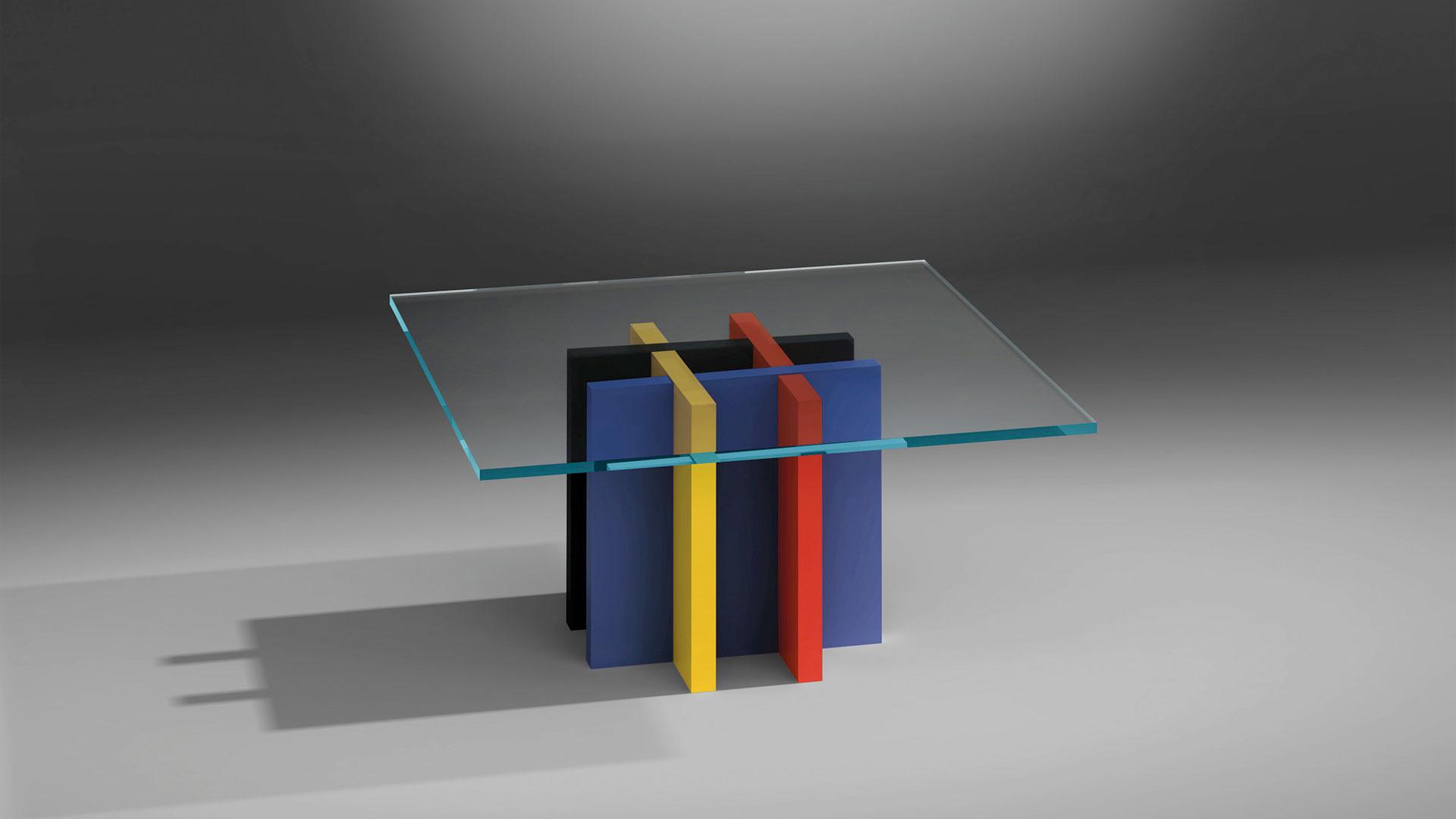 dreieck design glascouchtisch mondrian quadratisch - Marken
