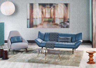 Sofa Devon von Leolux in Blau